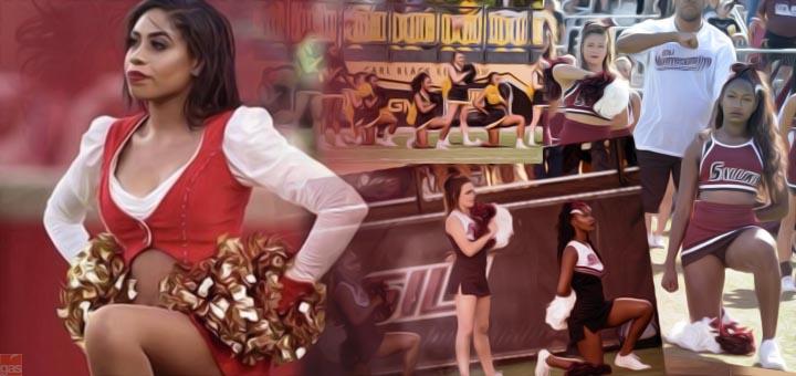 cheerleader in ginocchio