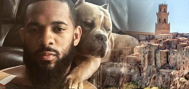 uomo nero e cane